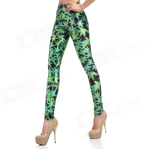 Elonbo Y1B4 Women's Maple Leaf Pattern Tight-fitting Polyester + Spandex Leggings - Black + Green