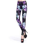 Elonbo Y1C5 Women's Tulip Pattern Tight-fitting Polyester + Spandex Leggings - Black + Purple