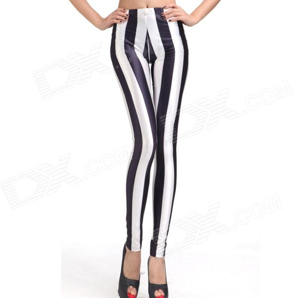 Elonbo Y1C11 Women's Vertical Strip Style Tight-fitting Polyester + Spandex Leggings - Black + White