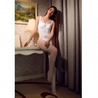 Fashionable Sexy Mesh One-Piece Nylon + Spandex Underwear - White