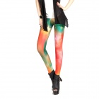 Elonbo Y1R5 Women's Starlit Sky Style Tight-fitting Polyester + Spandex Leggings - Red + Multi-color