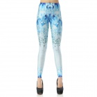 Elonbo Y1A23 Women's Glacier Pattern Tight-fitting Polyester + Spandex Leggings - White + Blue