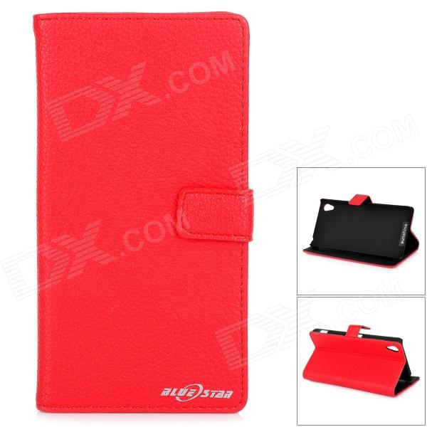 Stylish Flip Open PU Case w/ Stand / Card Slots for Sony Xperia Z2 / D6503 - Red protective flip open pu case w stand card slots for samsung galaxy s4 active i9295 black