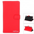 Stylish Flip Open PU Case w/ Stand / Card Slots for Sony Xperia Z2 / D6503 - Red