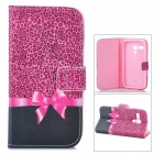 IKKI Cute Bow Style Protective Flip Open PU Leather Case w/ Stand / Card Slots for MOTO G / DVX