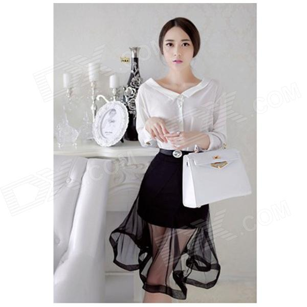 YL-03 Women's Fashionable Sleeved Shirt + Wavy Hem Skirt Suit - White + Black