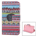 IKKI Stylish Flip Open Case w/ Stand / Card Slots for IPHONE 4S / 4 - Black + Red + Multi-Colored