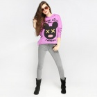 Catwalk88 Women's Spring Printed Pattern Long-sleeved Cotton Casual Hoodie - Purple (S)