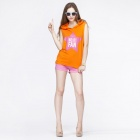 Catwalk88 Women's Summer Printed Pattern Sleeveless Cotton Casual Hoodie - Orange (M)