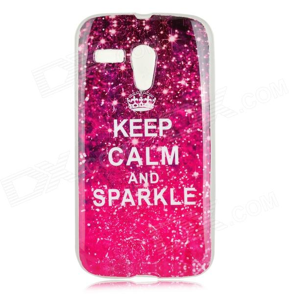 ''KEEP CALM AND SPARKLE'' Pattern Protective TPU Back Case for MOTO G / DVX - Fuchsia + White