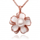 LKN18KRGPN712 Women's Stylish Petal + Gold-plated Pearl Pendant Necklace - Rose Gold + White