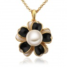 LKN18KRGPN709 Women's Stylish Petal + Gold-plated Pearl Pendant Necklace - Golden + Black
