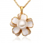 LKN18KRGPN710 Women's Stylish Petal + Gold-plated Pearl Pendant Necklace - Golden + White