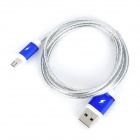 Universal USB Male to Micro USB Male 5-Pin Data Sync & Charging Cable - Silver + Blue (100cm)