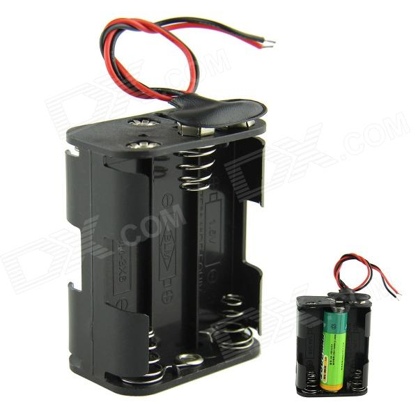 DIY 9V 6 x Battery Holder AA + bateria 9V Buckles w / Leads - Preto