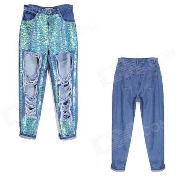 SE-02 Fashionable Loose Hole Paillette Cotton Jeans Trousers - Blue (S)