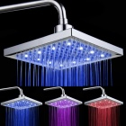 SHENDING LD8030-A1 Blue / Red / Pink LED Temperature Controlled Rainfall Shower Sprayer - Silver