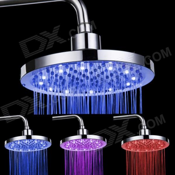 SHENDING LD8030-B2 Blue / Red / Pink LED Temperature Controlled Rainfall Shower Sprayer - Silver shending ld8030 a4 led blue pink red acrylic stainless steel round shower head silver