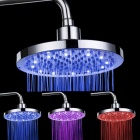 SHENDING LD8030-B2 Blue / Red / Pink LED Temperature Controlled Rainfall Shower Head - Silver