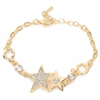 XXSL021 Women's Stylish Star Style Rhinestone Inlaid Charm Bracelet - Golden