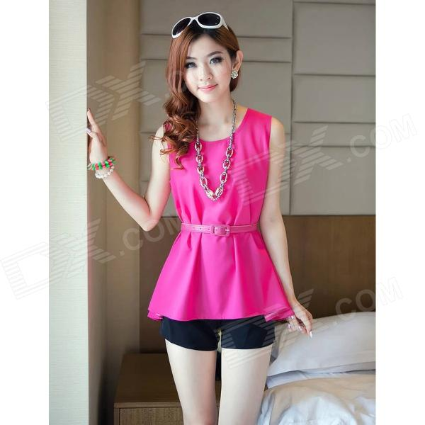 GZLD-L52 Fashion Chiffon Sleeveless Peplum Top w/ Waist Band for Women - Deep Pink (L)