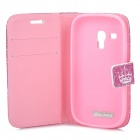 Stylish PU Leather Flip Open Case w/ Stand for Samsung Galaxy S3 Mini i8190/i8160 - White + Purple
