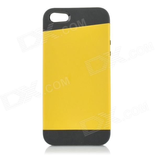 Protective PC + TPU Back Case for IPHONE 5 w/ Anti-dust Cover - Black + Yellow protective pc tpu back case for iphone 5 w anti dust cover white light green