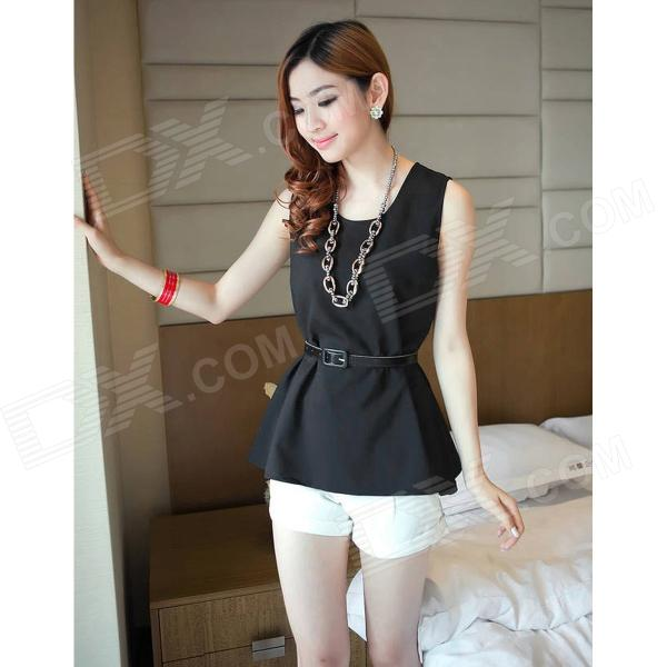 GZLD-L52 Fashion Chiffon Sleeveless Peplum Top w/ Waist Band for Women - Black (L)