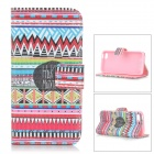 IKKI Stylish Flip Open PU Leather Case w/ Stand / Card Slots for IPHONE 5S / 5G - Black + Red