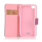 IKKI Stylish Flip Open PU Leather Case w/ Stand / Card Slots for IPHONE 4S / 4G - Black + Deep Pink