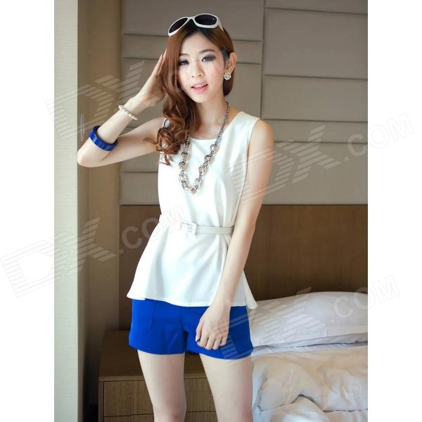 GZLD-L52 Fashion Chiffon Sleeveless Peplum Top w/ Waist Band for Women - White (L)
