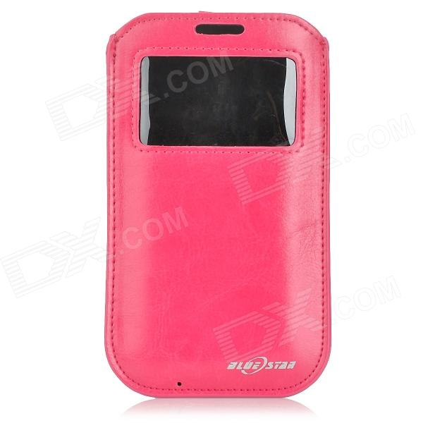 BLUESTAR Protective Pull Pouch PU Case w/ Display Window for IPHONE 6 - Dark Pink protective plastic case w display window for iphone 5c deep pink