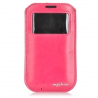 BLUESTAR Protective Pull Pouch PU Case w/ Display Window for IPHONE 6 - Dark Pink