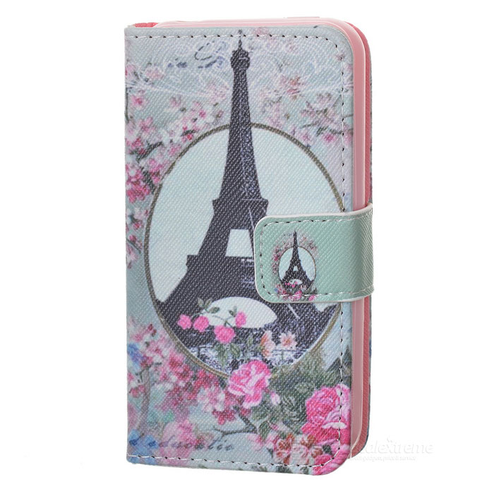 IKKI Eiffel Tower Pattern Stylish Flip Open PU Leather Case w/ Stand / Card Slots for IPHONE 4S / 4G cute owl pattern pu leather flip open case w stand card slot for iphone 4 4s multi color