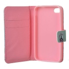 IKKI Eiffeltoren Patroon Stijlvol Flip Open PU Leather Case w / stand /-kaartsleuven voor iPhone 4S / 4G