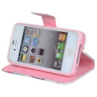 IKKI Protective Flip Open PU Case w/ Stand + Card Slot for IPHONE 4 / 4S - Pink + Multi-colored