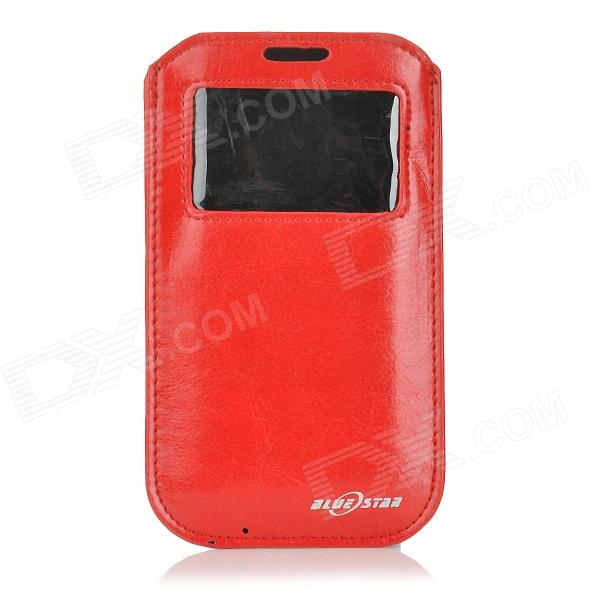BULESTAR Protective Pull Pouch PU Case w/ Display Window for IPHONE 6 - Red