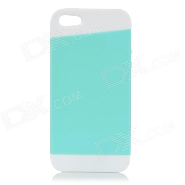 Protective PC + TPU Back Case for IPHONE 5 w/ Anti-dust Cover - White + Light Green protective pc tpu back case for iphone 5 w anti dust cover white light green