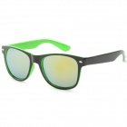 Unisex Anti-UV UV400 Protection Plastic Frame PC Lens Sunglasses - Black + Green