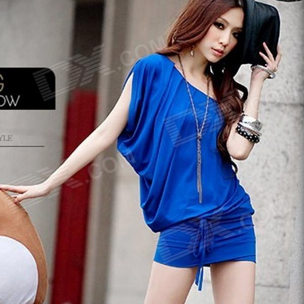 ELMD-121 Fashion Milk Silk One Shoulder Dress for Women - Blue jm1148 elastic milk silk sexy one shoulder off dress blue