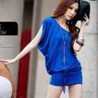 ELMD-121 Fashion Milk Silk One Shoulder Dress for Women - Blue