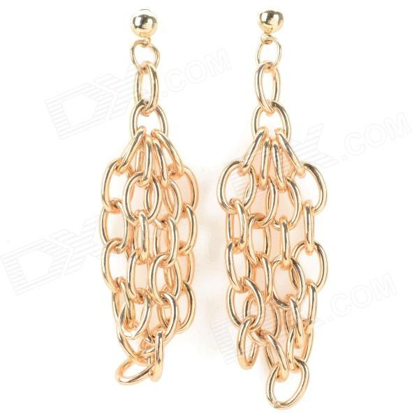 ER-5304 Women's Punk Style Zinc Alloy Chain Earrings - Golden new arrival girl full leather boots spring autumn casual snow high top genuine leather boots women shoes a443