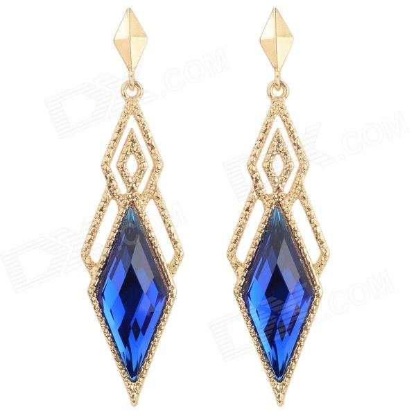 ER-7193 Women's Fashionable Rhombic Style Artificial Stone Zinc Alloy Earrings - Blue (Pair)