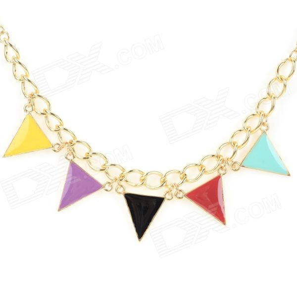 NC-3855 Women's Stylish Colorful Triangle Style Zinc Alloy Pendant Necklace - Multi-colored + Golden