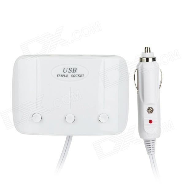 AD-B04 Dual-USB 2.0 In-Car Triple Socket Car Cigarette Lighter w/ Indicator Light - White (12~24V)