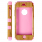 HW01 Fashionable Wood Line Pattern Protective Silicone Back Case for IPHONE 5C - Yellow + Pink