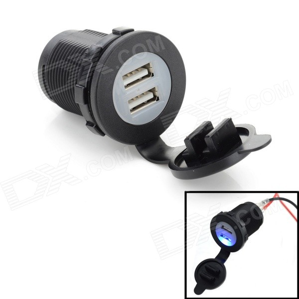 Jtron 01011019 Motorcycle Handlebar 2.1A Dual USB Lighter Charger - Black (DC 12~24V)