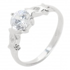 Fenlu XZJZ020 Women's Fashionable Rhinestone Studded Ring - Silver (US Size: 5)