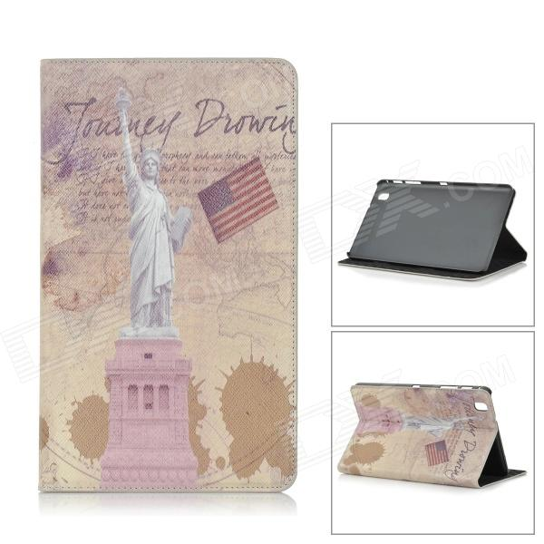 Statue of Liberty Pattern Stylish Protective Flip Open PC + PU Case w/ Stand for 8.4'' Samsung T320 statue of liberty pattern protective pu flip open case w strap card slots for samsung galaxy s5