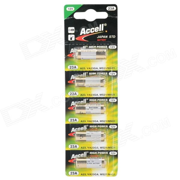 Accell 23A 12V Disposable Alkaline Battery - Golden + White (5 PCS) gp disposable 800mah alkaline lr1 size n batteries golden 1 5v 2 pcs